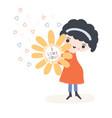kawaii little girl holding i love you vector image