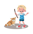 little boy dog friend cartoon vector image