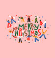 merry christmas fun people together cartoon card vector image