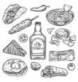 mexican food sketch mexican national drink vector image vector image