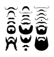 Moustaches and beards silhouettes icons vector image
