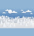 paper craft winter background christmas landscape vector image vector image