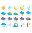 paper cut weather icons symbols rain rainbow vector image