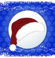 Santa Hat over festive blue background vector image vector image