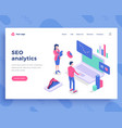 seo analytics concept office people and interact vector image vector image