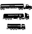 set different silhouettes cistern trucks vector image vector image
