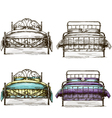 set of beds drawing sketch style vector image vector image