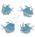 set of cartoon cute deep-water fish vector image