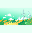 spinning wind turbines in field with leaves vector image
