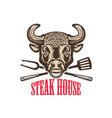 steak house bull head with kitchen tools design vector image vector image