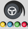 Steering wheel icon sign Symbol on five colored vector image
