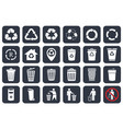 trash can icons set and recycle symbols vector image vector image