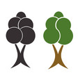 two trees set - black silhouette tree vector image vector image
