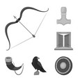 vikings and attributes monochrome icons in set vector image