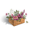wooden box with a bouquet of beautiful flowers vector image vector image