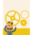 Businessman holding up gears vector image