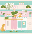 a woman in her kitchen with food and dog home vector image vector image