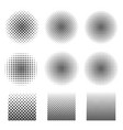 abstract halftone set of circles and square vector image