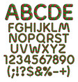 alphabet numbers signs from christmas sweets vector image vector image