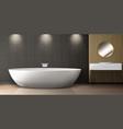 bathroom interior with bath sink and round mirror