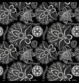 black and white seamless pattern with floral vector image vector image