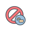 block cancel lock stop unlock icon vector image vector image