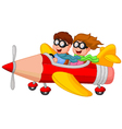 Boy and girl on a pencil airplane vector image vector image