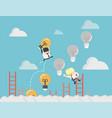 businessman up the ladder light bulb idea bulb vector image vector image