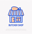 butcher shop thin line icon vector image