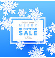 christmas sale banner with volumetric snowflakes vector image vector image