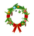 christmas wreath fir evergreen wreath vector image