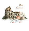 Colosseum hand drawing watercolor style vector image