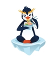 Cute penguin with a noodle dish vector image vector image