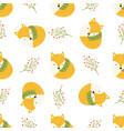cute seamless pattern with sleeping foxes in scarf vector image