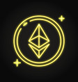 ethereum coin icon in neon line style vector image