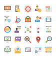 flat icon set of media and advertisement vector image vector image