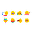 fun summer elements sun characters icons vector image vector image
