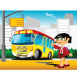 Girl at a bus stop vector image
