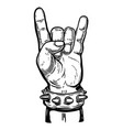 hand drawn human hand with rock and roll sign vector image vector image