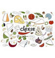 hand drawn set with different types of cheeses vector image