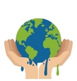 hands holding planet earth melting icon vector image vector image