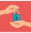 hands with padlock vector image vector image