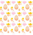 happy easter seamless pattern with yellow chicken vector image