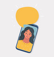 happy young woman on screen vector image