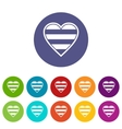 Heart LGBT set icons vector image vector image