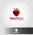 king heart logo template vector image vector image