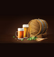 lager beer in glass cup and wood barrel with wheat vector image vector image