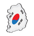 map of south korea with its flag vector image vector image
