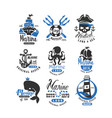 nautical logo original design set retro badges vector image