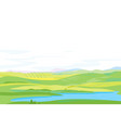 panorama of hills with pond in the valley vector image